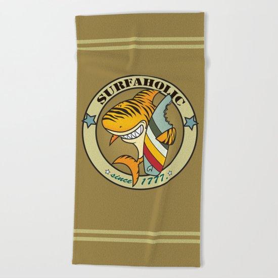Surfaholic tiger shark Beach Towel