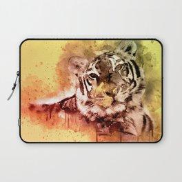 Tiger Watercolor, Painted Tiger Art, Cool Tiger, Splatter Tiger Design, Tiger Decor, Vintage Tiger Laptop Sleeve