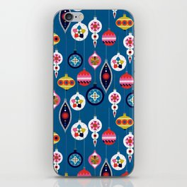 Retro Christmas Baubles on a dark background iPhone Skin