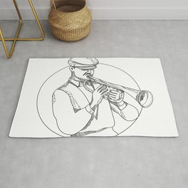 Jazz Musician Playing Trumpet Doodle Art Rug