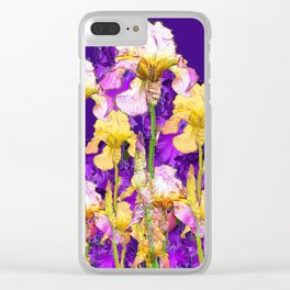 Contemporary Purple Yellow Iris Garden Art Clear iPhone Case