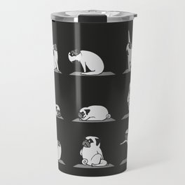Pug Yoga B&W Travel Mug