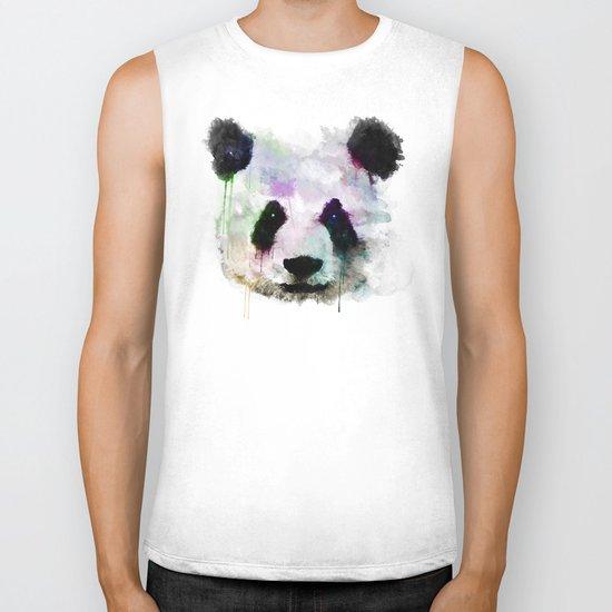 Panda Face - Watercolor Biker Tank