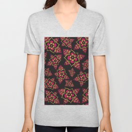 Pink yellow black hand painted modern floral Unisex V-Neck