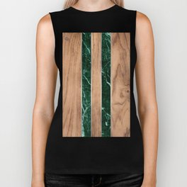 Wood Grain Stripes - Green Granite #901 Biker Tank