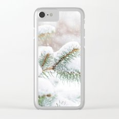 Winter Evergreen Clear iPhone Case