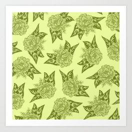 Cabbage Roses in Chartreuse Art Print