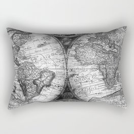 World Map Antique Vintage Black and White Rectangular Pillow