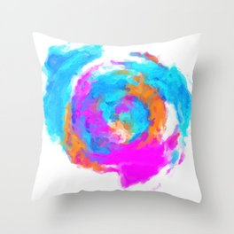 psychedelic splash painting abstract texture in blue pink orange Throw Pillow