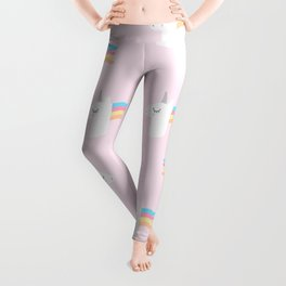 Cute Unicorn on Pink Background Leggings