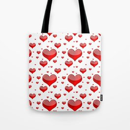 Hearts Red and White Tote Bag