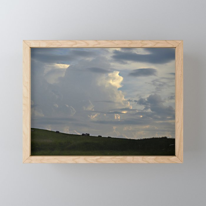 Sunset Cloudscape Rolling Hills Hay Rolls Framed Mini Art Print