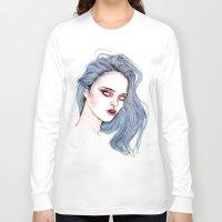 sky ferreira Long Sleeve T-shirts featuring Sky Ferreira /  Blue  by Lucas David