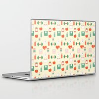 fitness Laptop & iPad Skins featuring Fitness pattern by Xinnie and RAE
