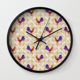 Rooster Pattern Wall Clock