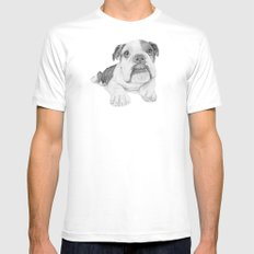 A Bulldog Puppy MEDIUM Mens Fitted Tee White