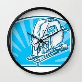 Jigsaw Power Tool Woodcut Retro Wall Clock
