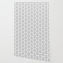 Mid Century Owl Pattern Grey Wallpaper