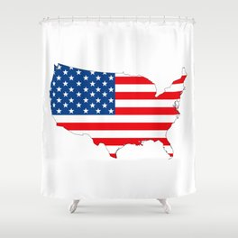USA map with flag Shower Curtain
