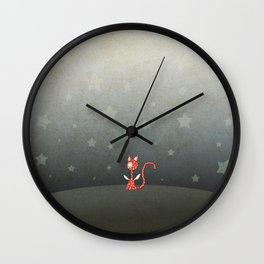 Small winged polka-dotted red cat and stars Wall Clock