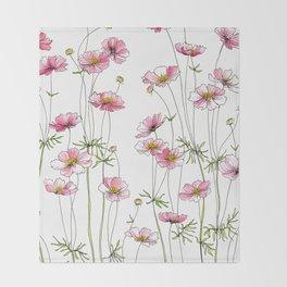 Pink Cosmos Flowers Throw Blanket