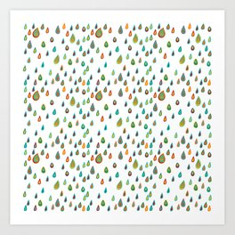 Colorful raindrops. Digital. Traced from vector.  Art Print