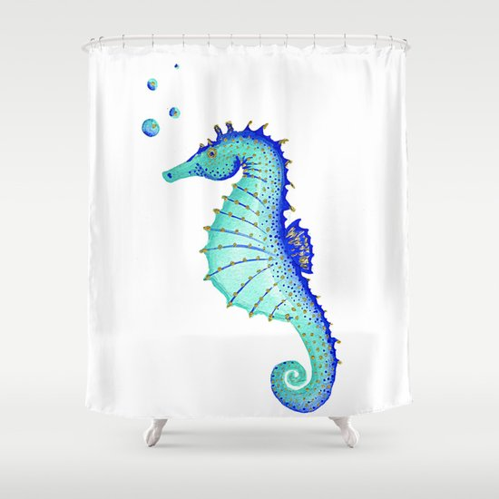 neptune u0026 39 s seahorse shower curtain by teeka u0026 39 s treasures