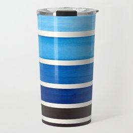 Prussian Blue Minimalist Watercolor Mid Century Staggered Stripes Rothko Color Block Geometric Art Travel Mug