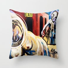 Exit Stage Left Throw Pillow