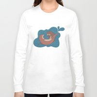 otters Long Sleeve T-shirts featuring Underwater Otters by Amarie
