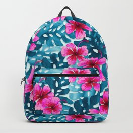 Tropical Hibiscus Pattern Pink Backpack