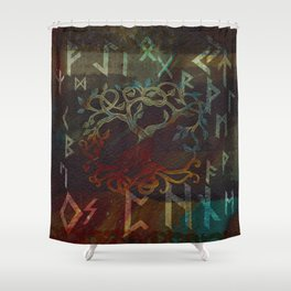 Tree of life  -Yggdrasil - and runes Shower Curtain