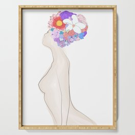 Abstract naked body with flowers ink drawing. Woman portrait minimalist style. Serving Tray