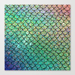 Colorful Glitter Mermaid Scales II Canvas Print