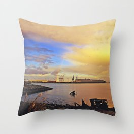 Bay Area Sunrise Waterfront Rainbow   2010 Throw Pillow