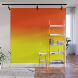 Neon Yellow and Neon Orange Ombré  Shade Color Fade Wall Mural