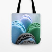 macaroons Tote Bags featuring MACAROONS Blue Aqua Turquoise by WhimsyRomance&Fun