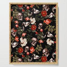Floral and Skull Dark Pattern Serving Tray