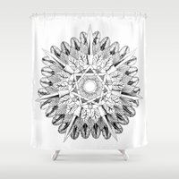 medicine Shower Curtains featuring Solar Medicine Shield by Mantis Galleries