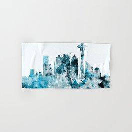 Seattle Monochrome Blue Skyline Hand & Bath Towel