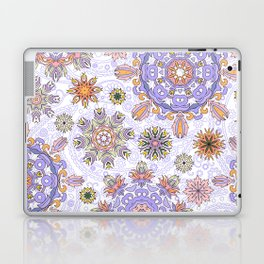Floral pattern with stylized snowflakes. Christmas winter snow theme pattern. Laptop & iPad Skin