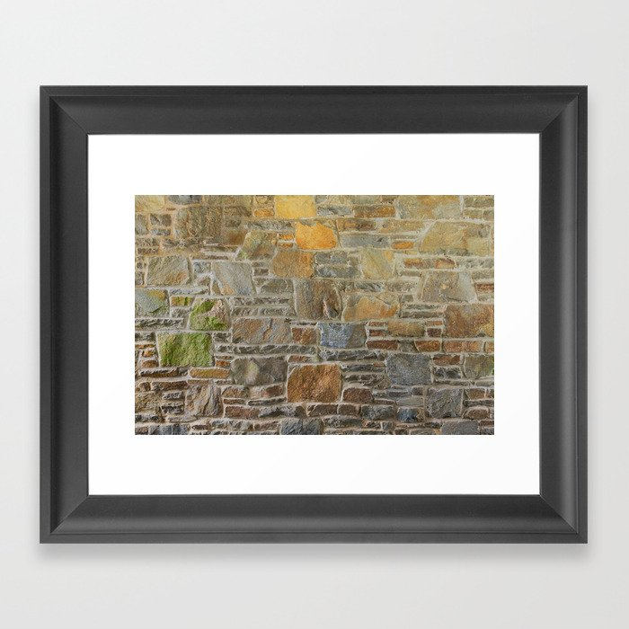 Avondale Brown Stone Wall and Mortar Texture Photography Framed Art Print