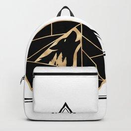 Geometric Wolf Golden Black Backpack