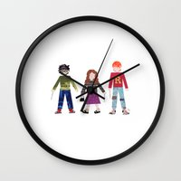 hermione Wall Clocks featuring Harry, Hermione, and Ron by Janna Morton