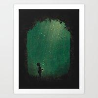 fireflies Art Prints featuring Fireflies by laurxy