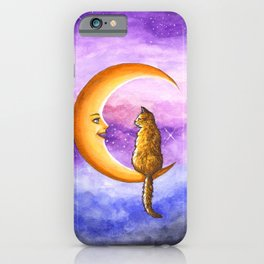 Cat on Moon 673 iPhone Case