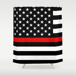 Thin Red Line Firefighters US Flag Shower Curtain