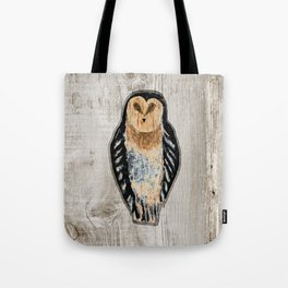Primitive Owl Graphic Carved Wood Board Tote Bag