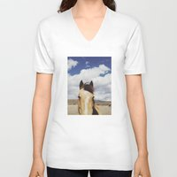 horse V-neck T-shirts featuring Cloudy Horse Head by Kevin Russ