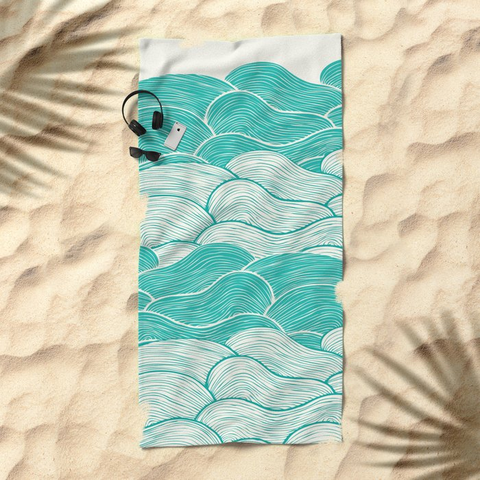 The Calm and Stormy Seas Beach Towel